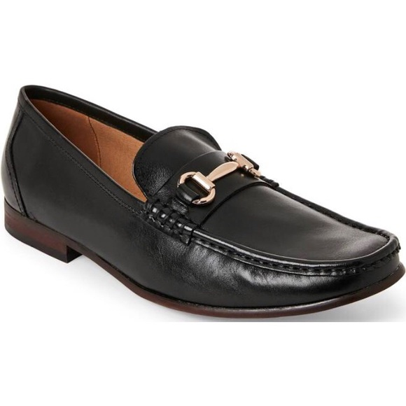 6def6416eb5 Steve Madden Black Gere Leather Bit Loafers NWT